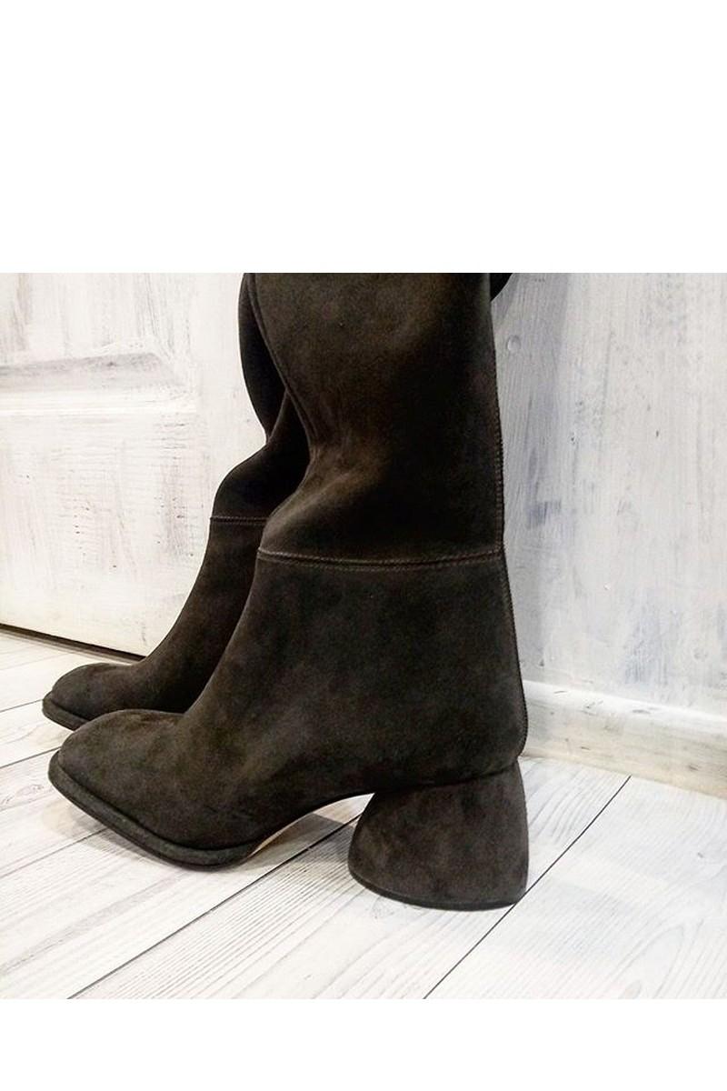 Buy Suede Black High Square Toe Women Comfort Heel Handmade Boots
