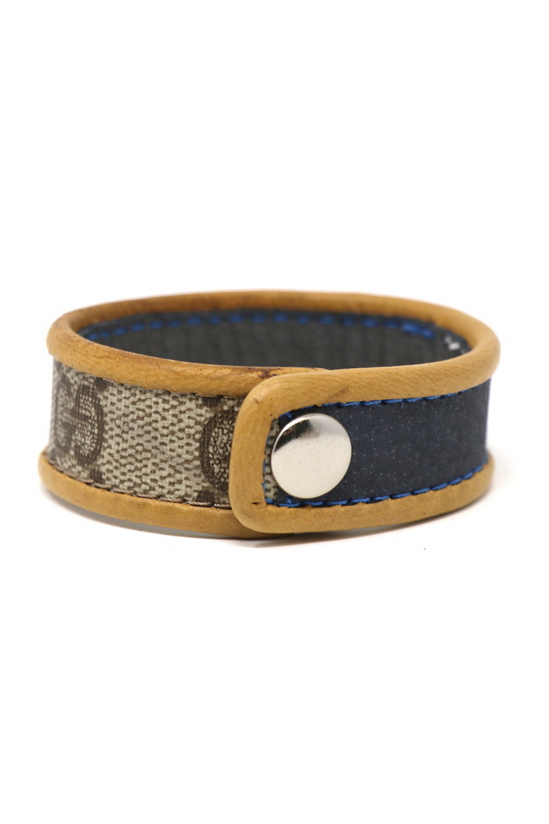 Buy Gucci Single Row Wristband/Cuff Stitched Blue Stripe Tan Leather Bordering