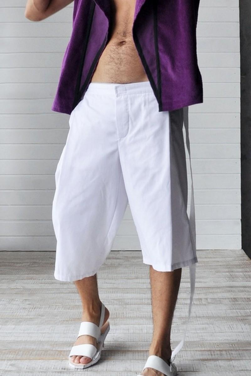Buy White cotton men`s cropped pants, Loose An architectural designer capris pockets shorts