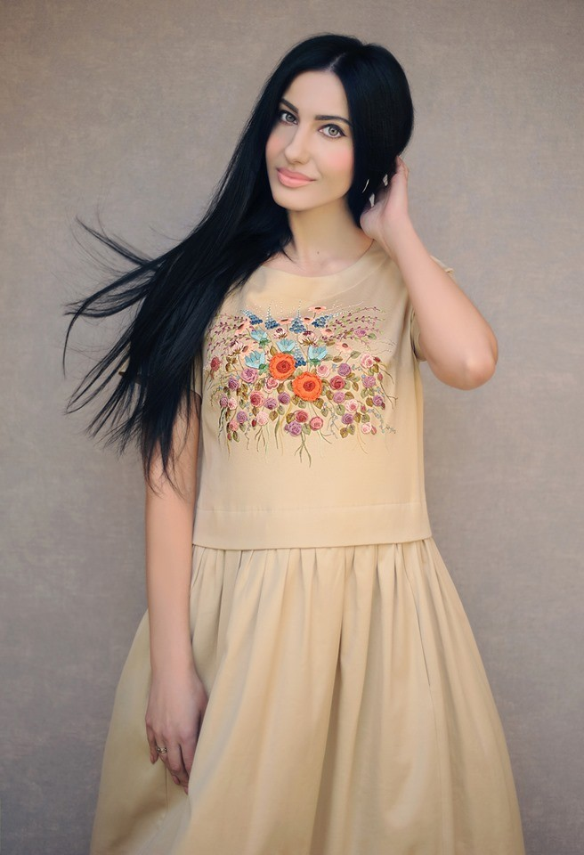 Buy Beige long designer cotton dress sundress with hand made embroidery, Original unique summer dress, Casual comfortable dress