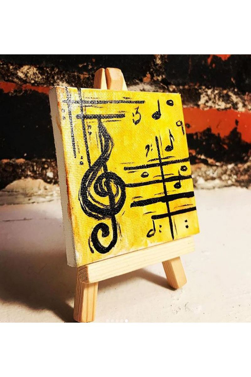 Buy Musical yellow acrylic modern painting, acrylic canvas easel paint