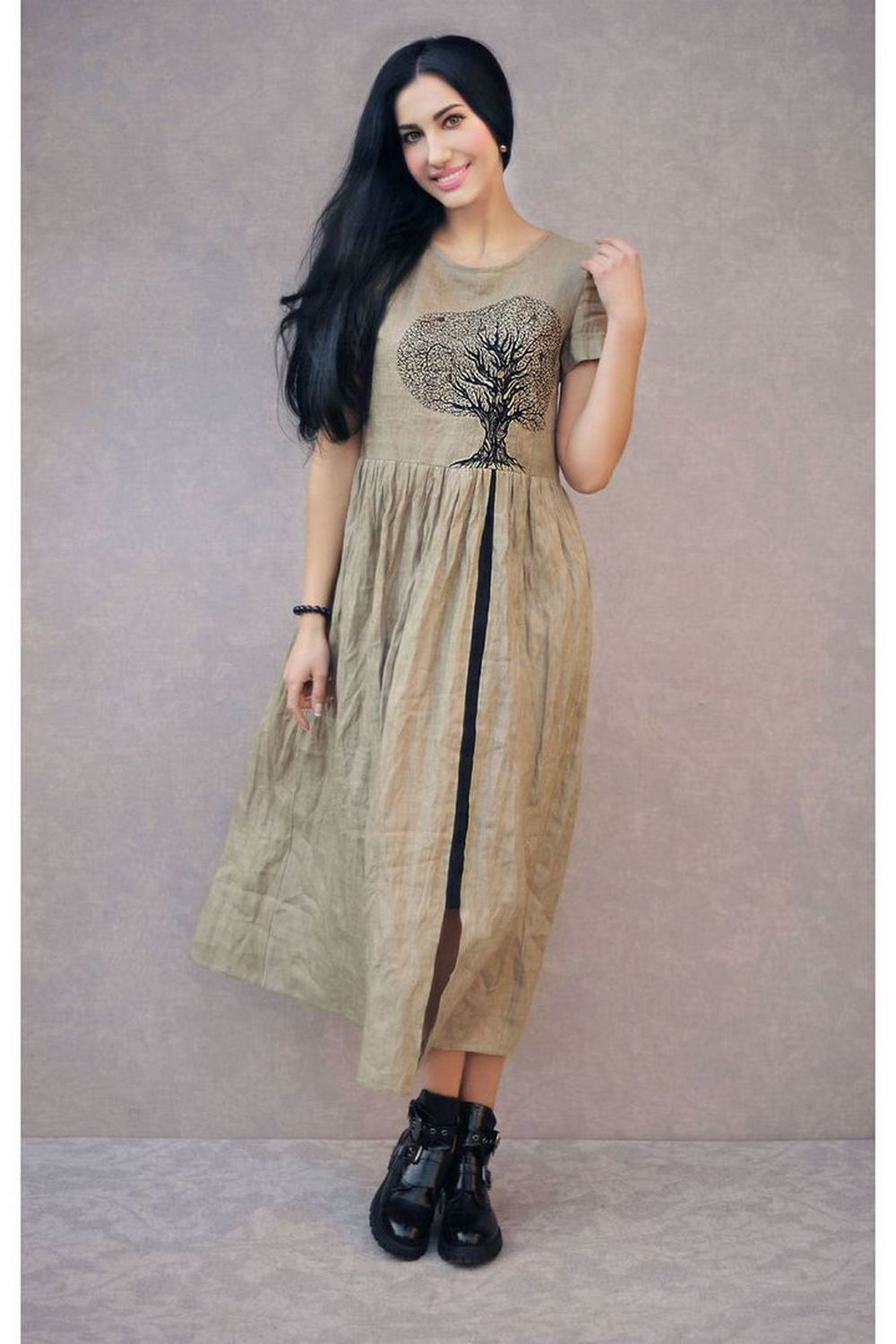 Buy Elegant linen beige midi dress with hand made embroidery, Original unique summer dress, Casual comfortable dress