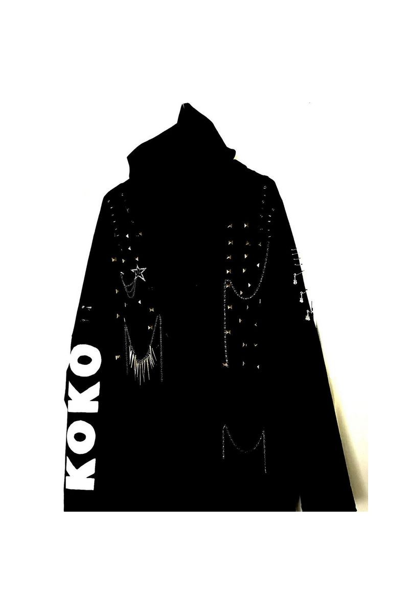 Buy Long sleeve coat with a hood, Black rock clothing, Goth studs spikes
