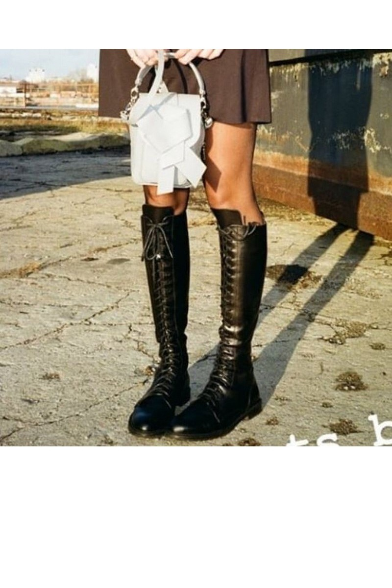 Buy Leather black high boots, lacing round toe designer handmade boots