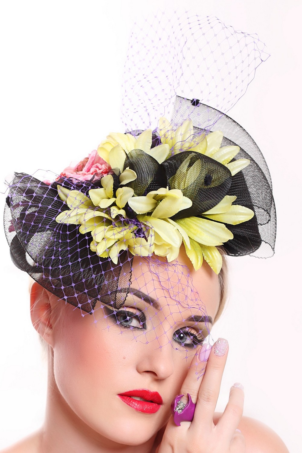 Buy Evening women's black bibi hat with flowers, Exclusive unique stylish hat for the holiday