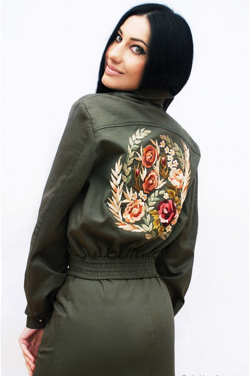 Buy Stylish khaki cotton women`s unique floral hand embroidery costume