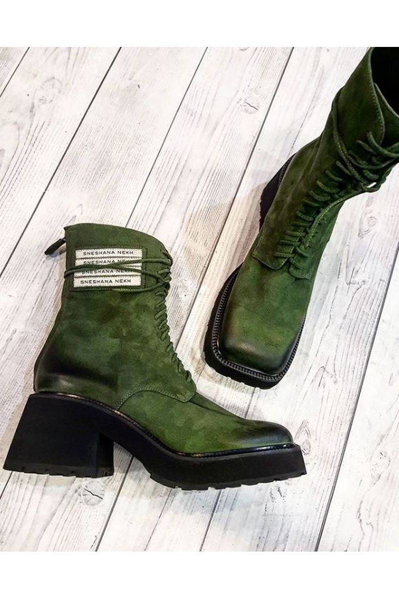 Buy Women`s Green Grey Military Lace Up Shredded Suede Square Toe Shoes Square Heel Ankle Boots