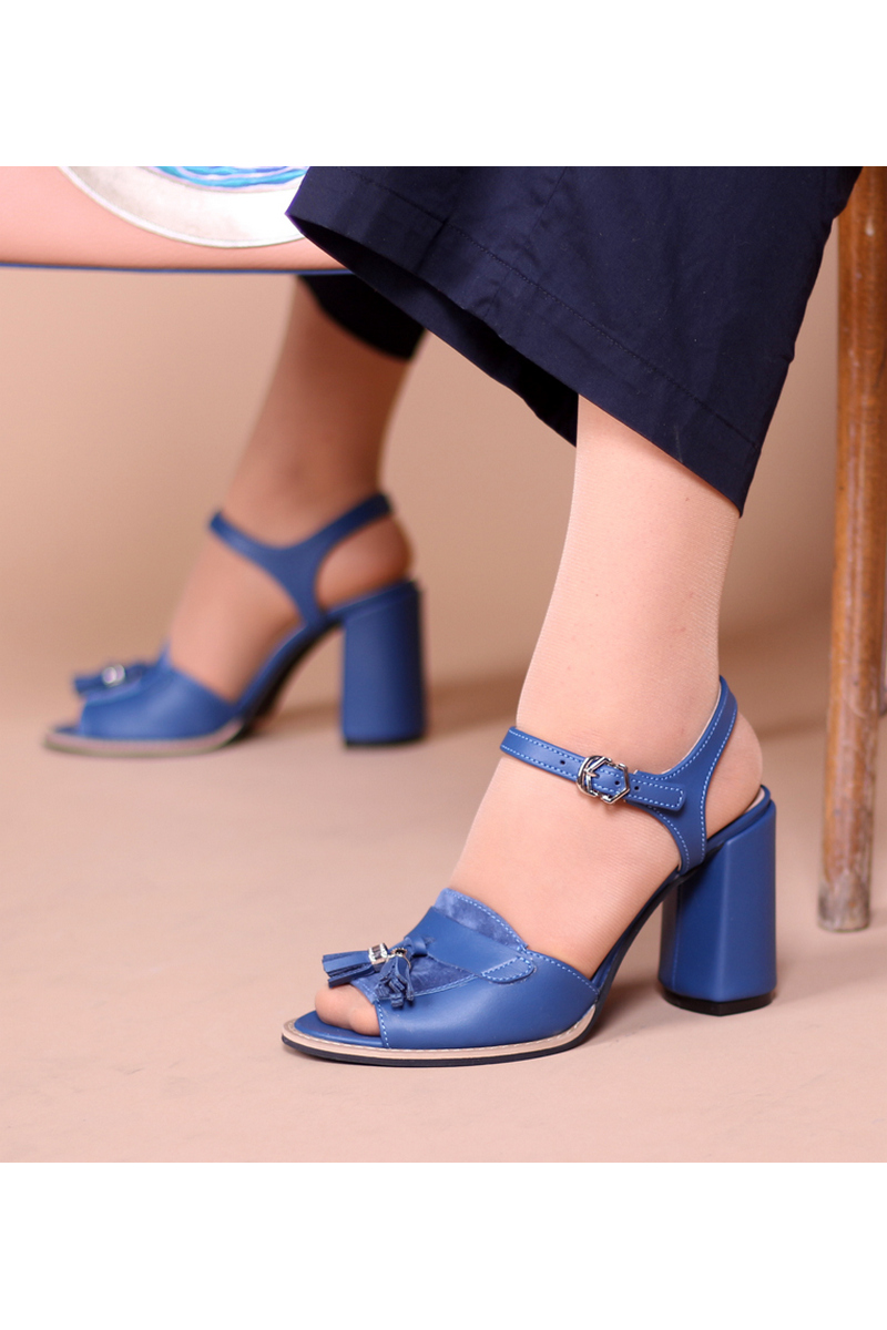 Buy Blue leather heels comfortable sandals, Casual Party Women loafers shoes, open toe buckle sandals