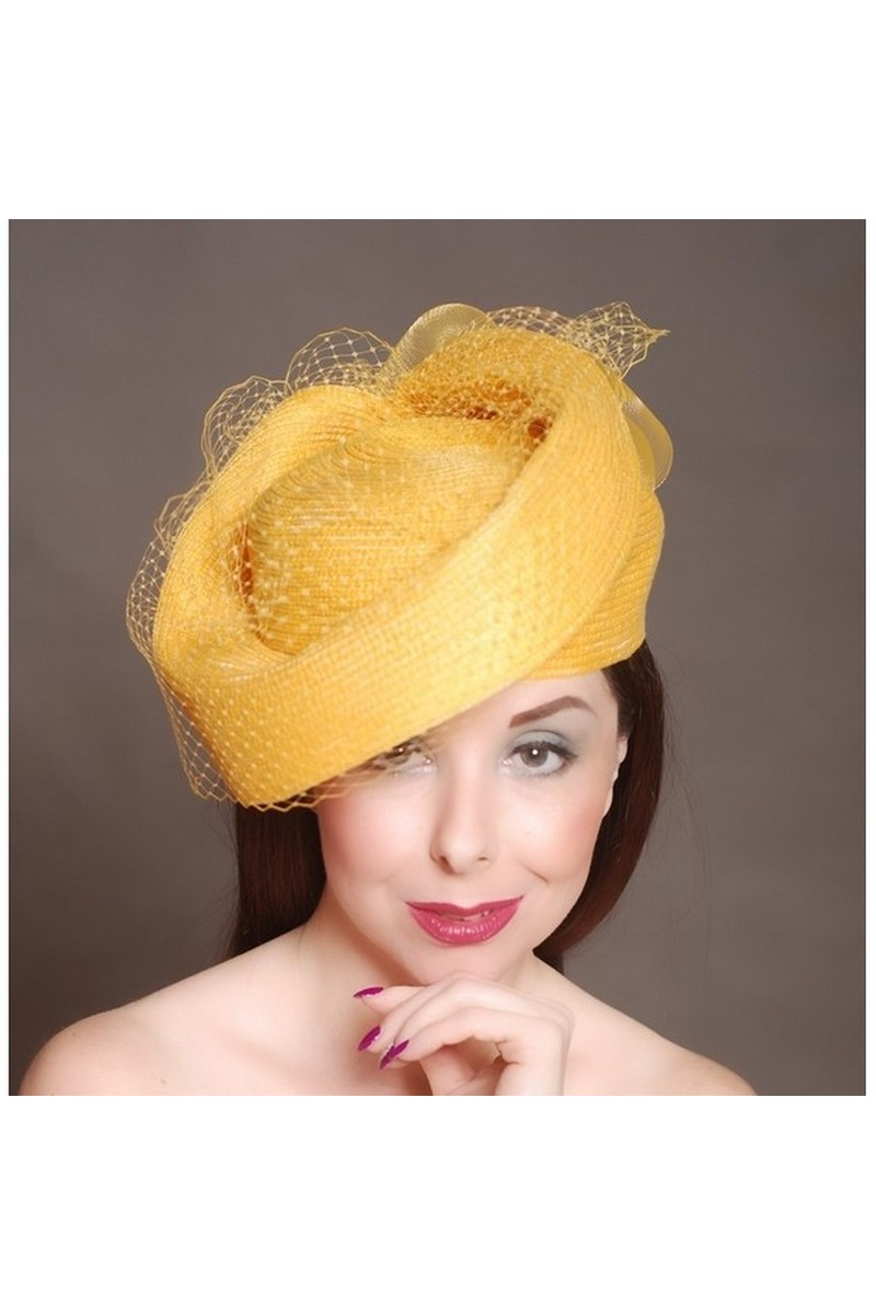 Buy Summer yellow hat with veil, Derby Hat Derby Hat Hairband for Women