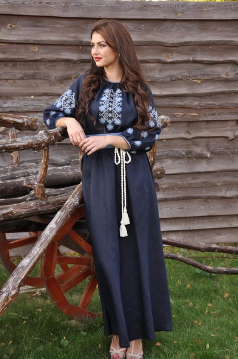 Buy Long blue embroidered floor dress, Ukrainian geometric ornament ethnic dress