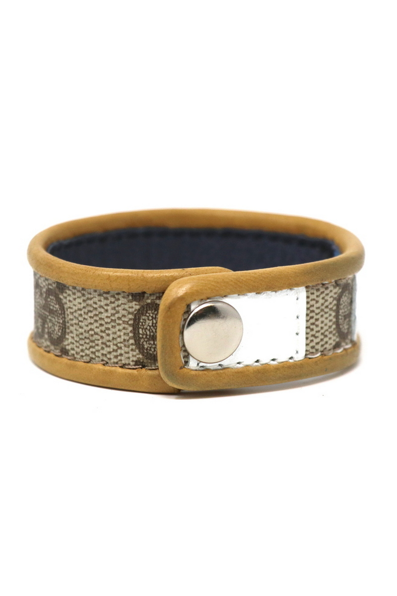 Buy Authentic Gucci Single Row Wristband/Cuff Stitched White Stripe Tan Leather Bordering