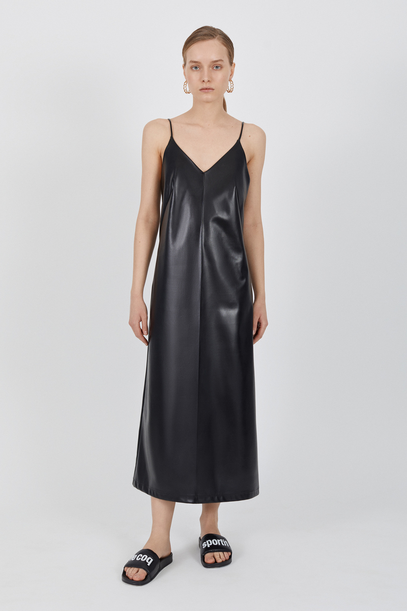 Buy Black eco-leather midi dress, V neck sleeveless party casual dress