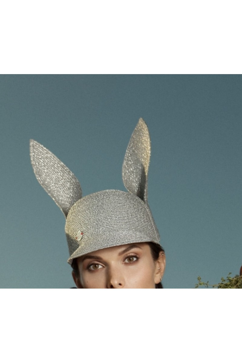 Buy Blue women`s stylish bunny hat with ears in retro style, Summer designer cap for ladies