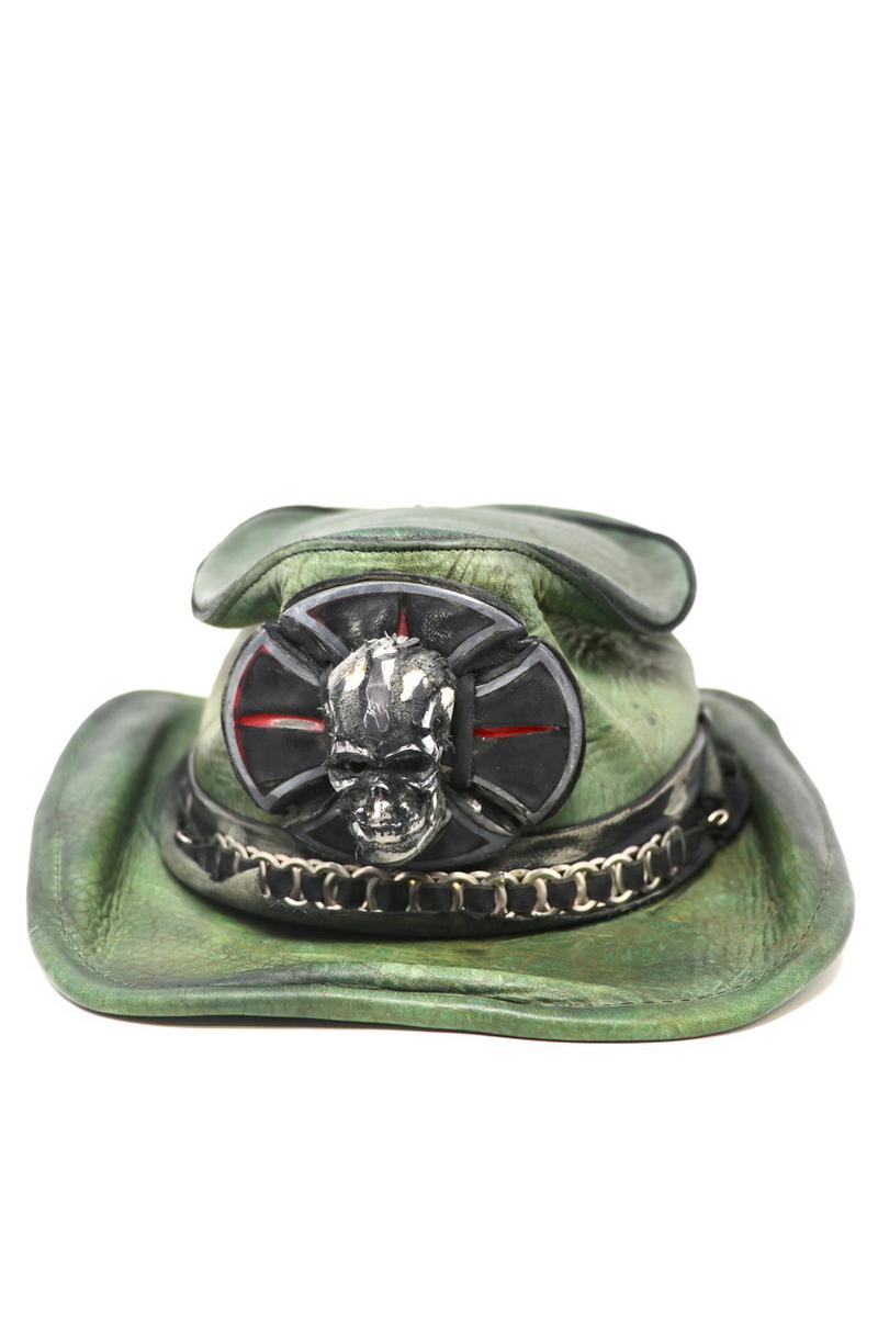 Buy Skull/Cross Outback Hat, Green Leather Vintage Handmade Unique Designer Festival Rock Hat