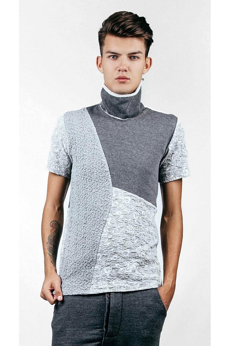 Buy Warm Cotton / Wool grey t-shirt, Men`s stylish designer exclusive short sleeve golf turtleneck tee