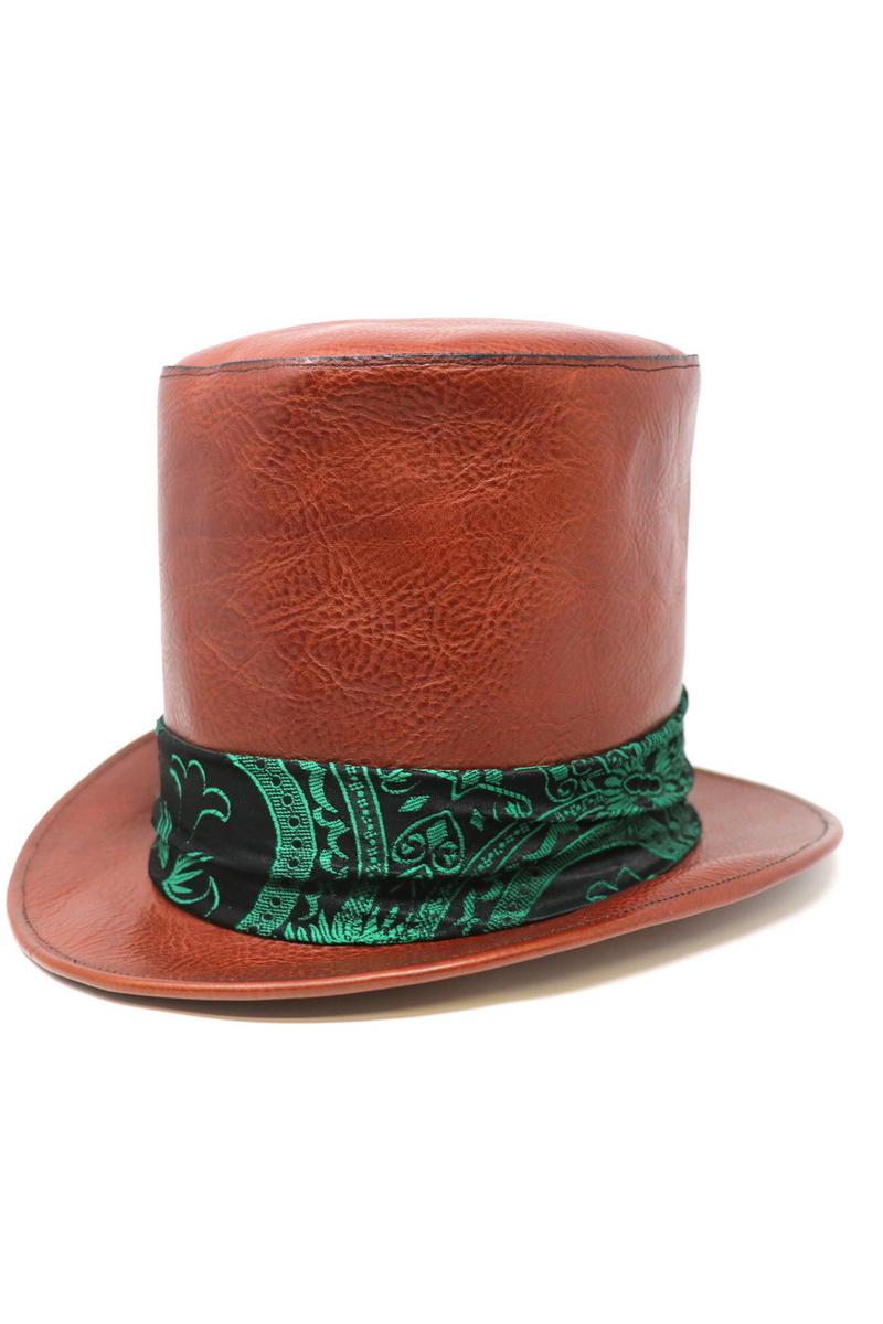 Buy Willy Wonk Top Hat, Leather brown men`s hat, Rock rocknroll festival accessories
