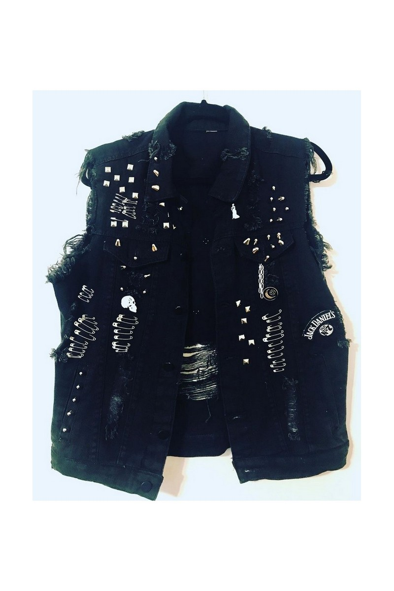 Buy Black studded denim vest, punkrock vest, punk clothing, rocknroll clothing