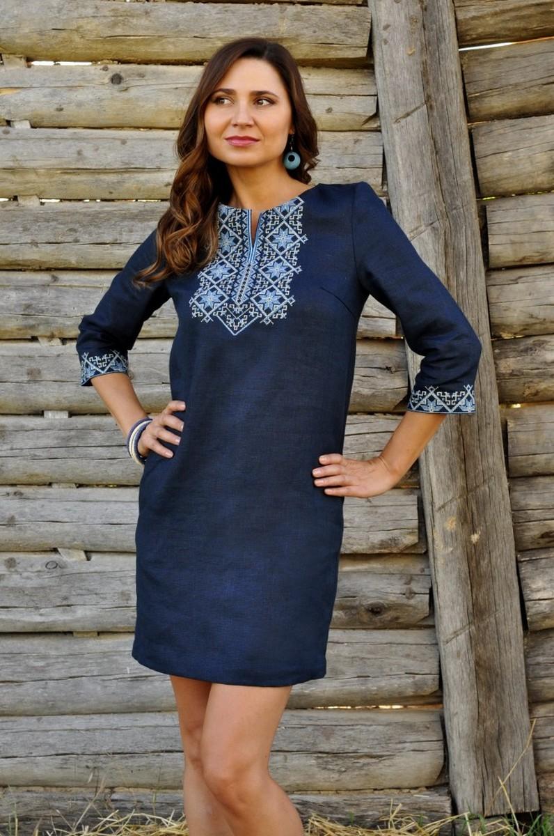Buy Short blue embroidered linen dress,unique Ukrainian ethnic dress