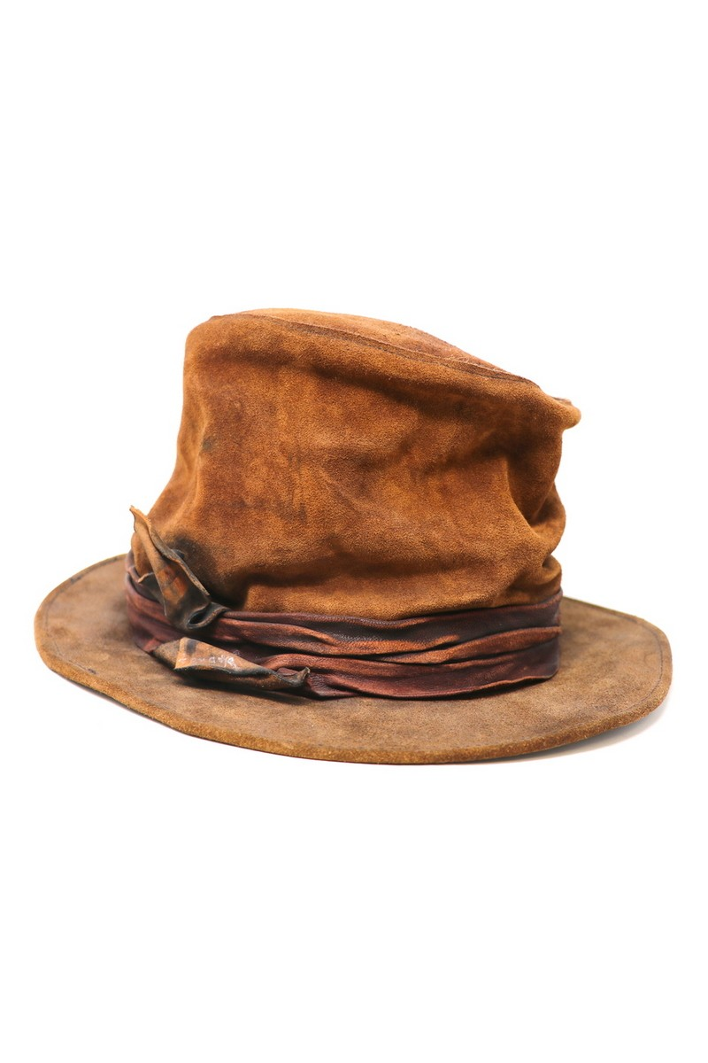 Buy Crumpled Flat Brim Top-Hat, Brown Red Suede Handmade Festival Party hat