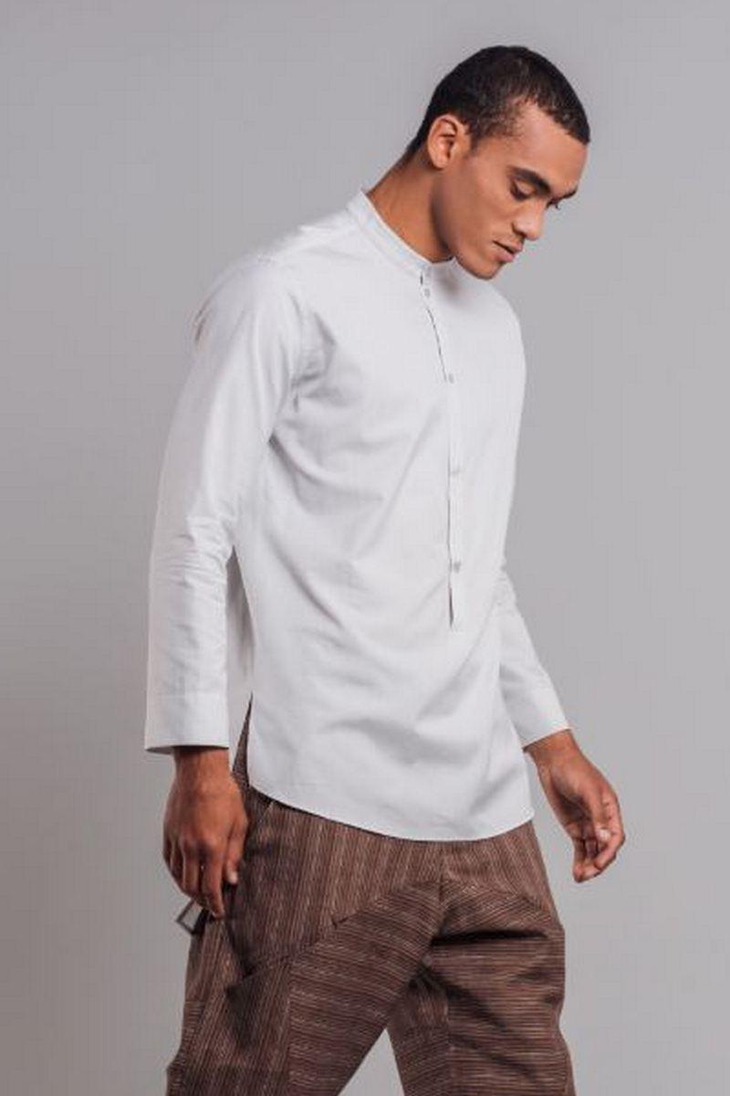 Buy Long-backed cotton light gray men`s shirt, Long sleeve button-down shirt for men