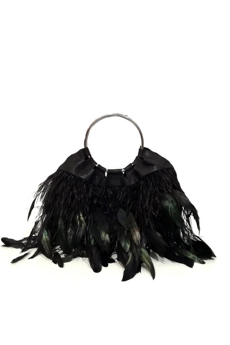 Buy Black Feathers Round Ring Handles Stylish Spectacular Party Bag Pouch