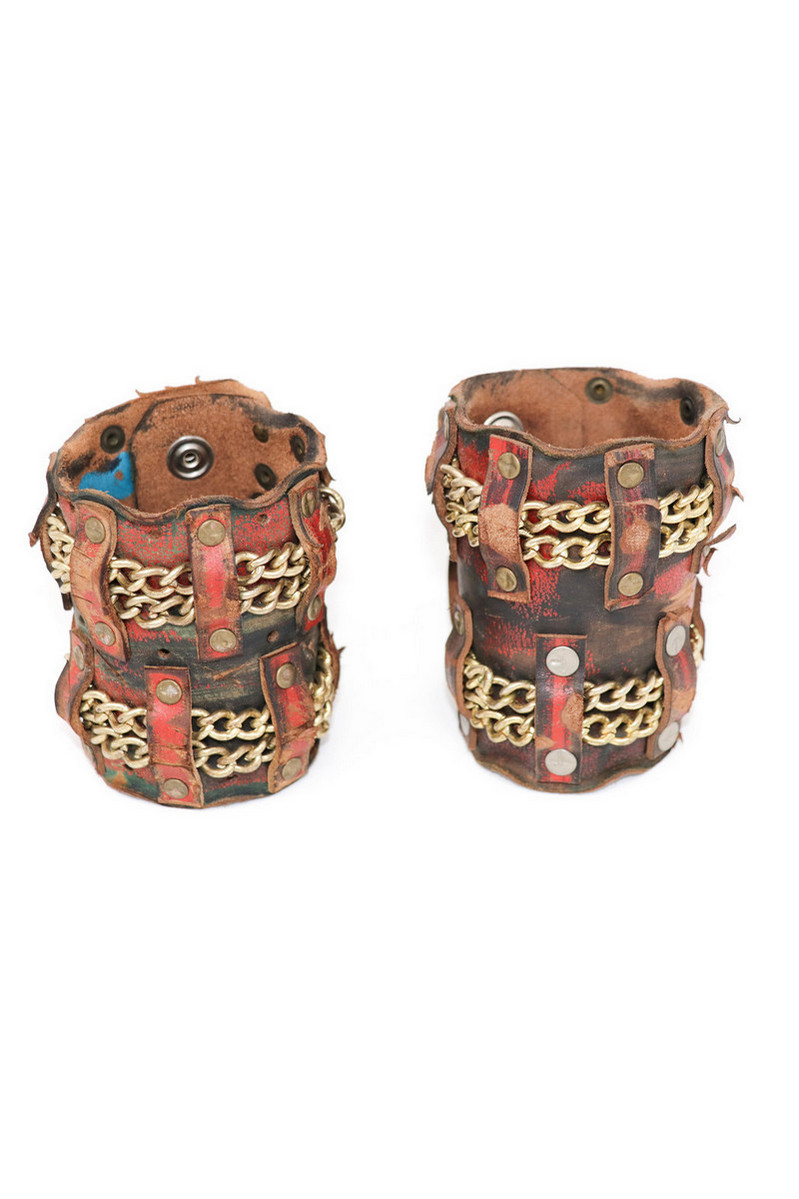 Buy MadMax Chain Leather Wristband 4*4, Brown Vintage Rocknroll Stylish accessories