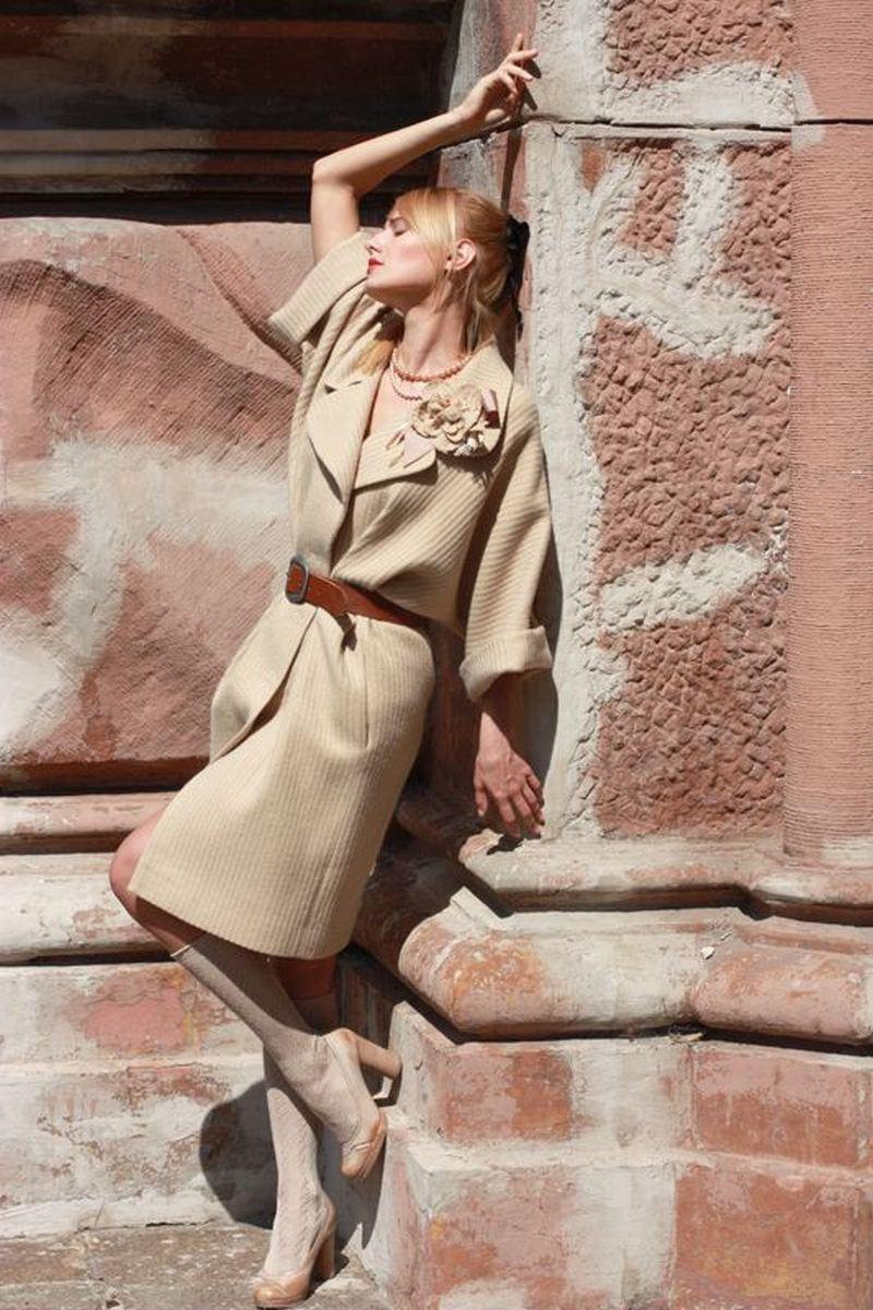 Buy Beige women's loosecomfortable warm woolen overcoat, Designer stylish overcoat