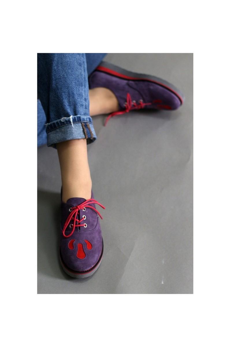 Buy Oxfords purple women leather shoes, casual laces designer comfortable stylish shoes