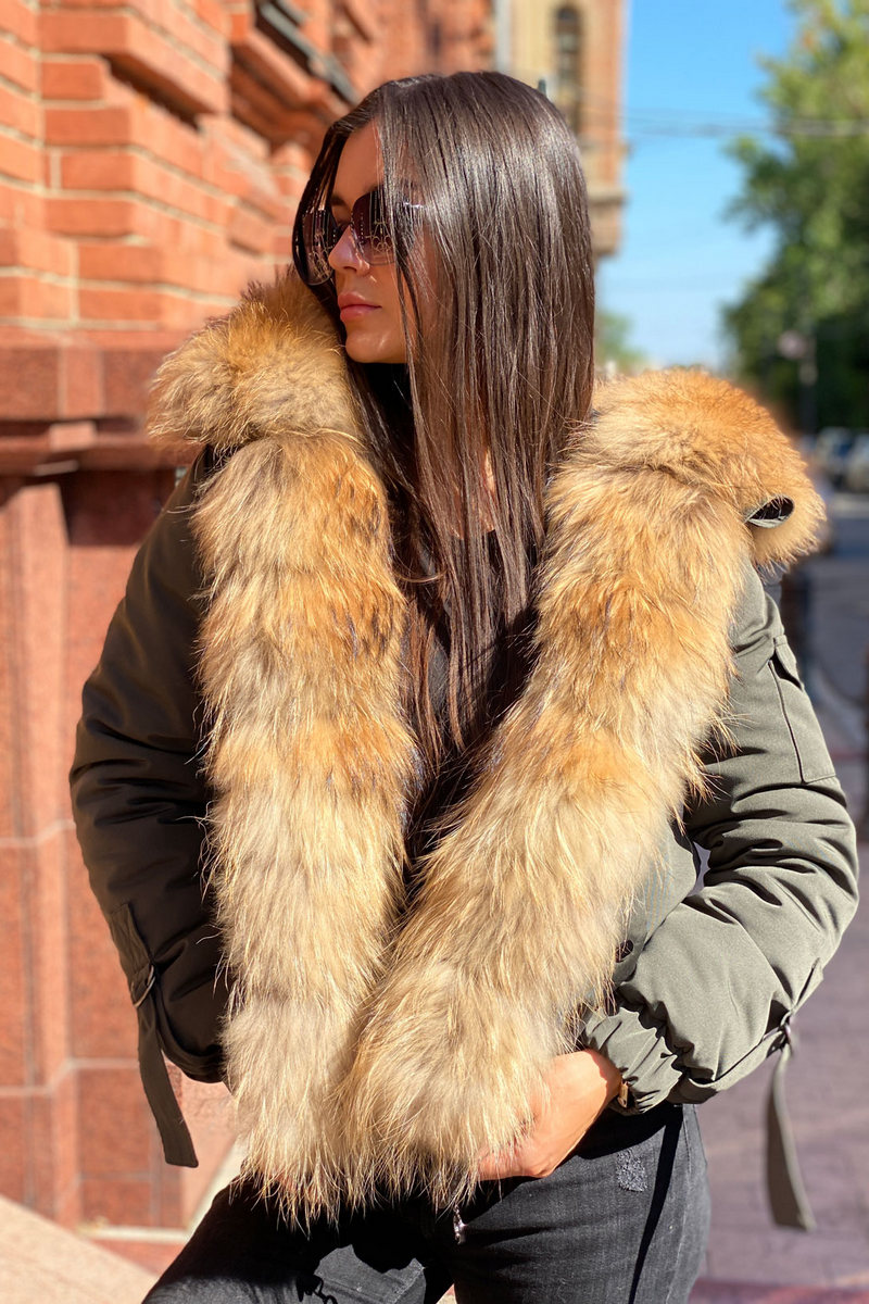 Buy Women's Khaki Real Raccoon Fur Hood Casual Bomber Fur Coat