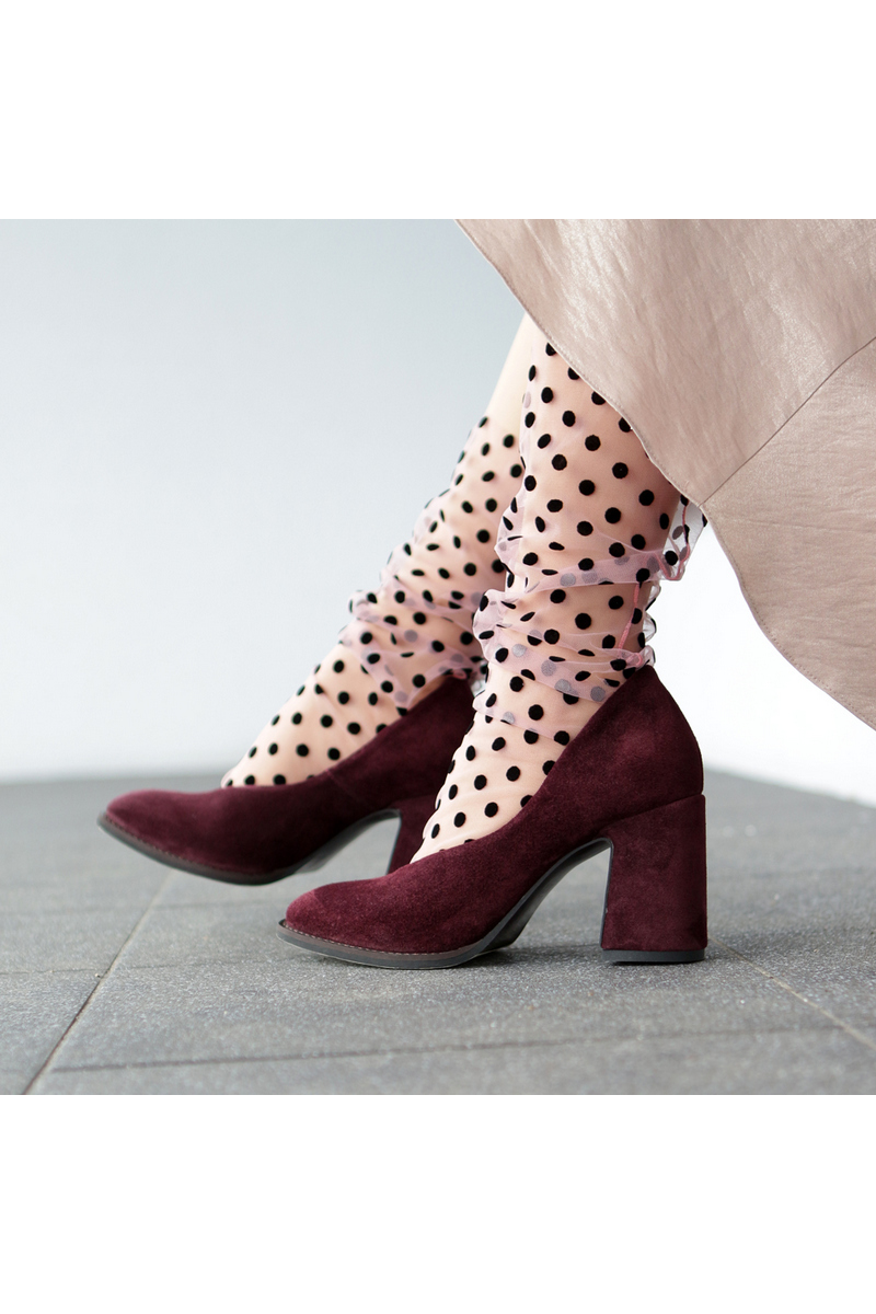 Buy Women's Heel Pump Burgundy Square toe Suede Dress Shoes