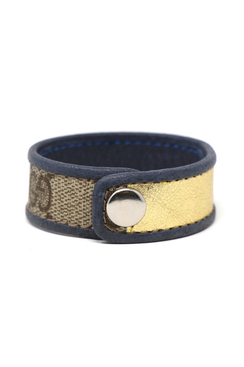 Buy Leather Single Row Gucci Wristband/Cuff Stitched Gold Stripe Blue Leather Bordering