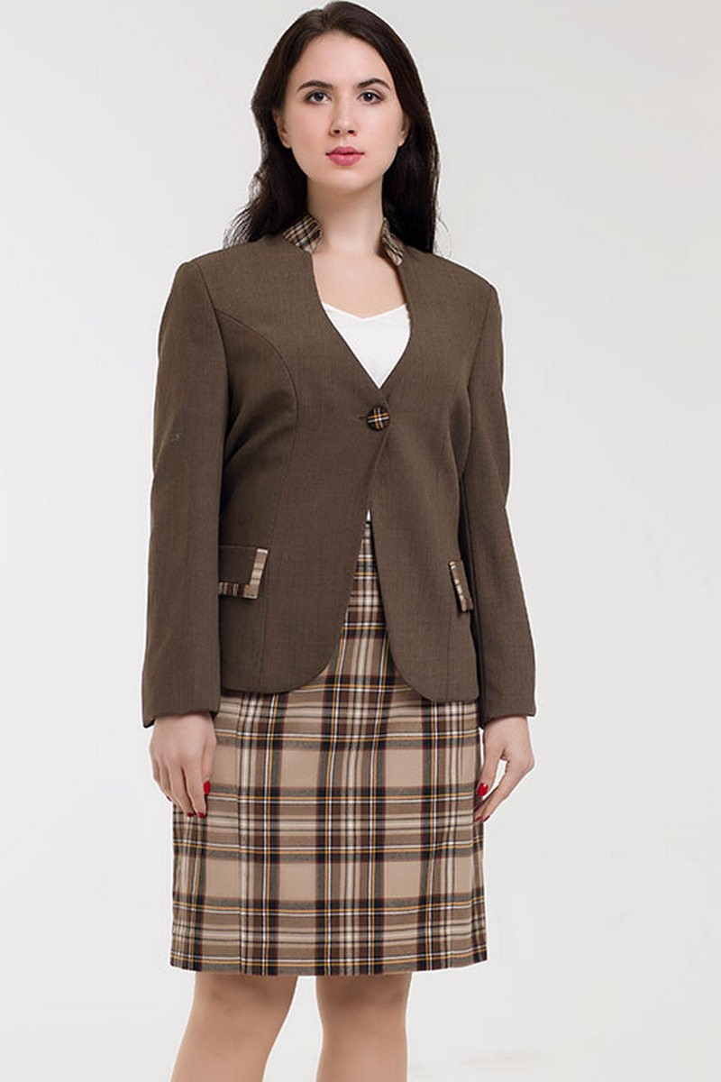 Buy Brown warm wool office business comfortable women skirt suit