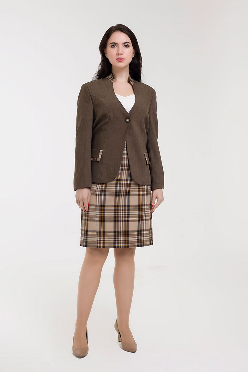 Brown warm wool office business comfortable women skirt suit