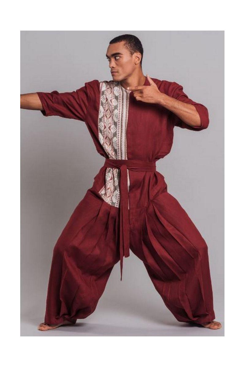 Buy Linen men`s red pattern overalls loose plus size costume japanese samurai