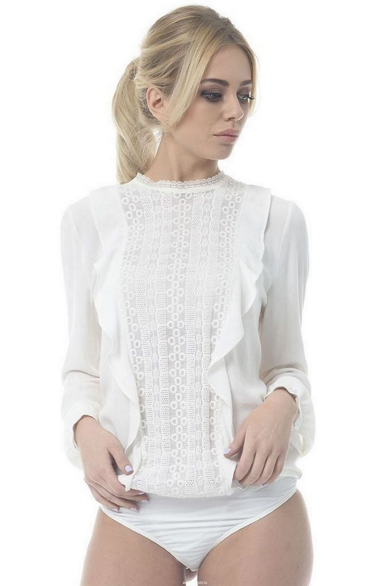 Buy White Blouse Body for Women Guipure Lace Long sleeve Loose style Office Style Clothing Arefeva