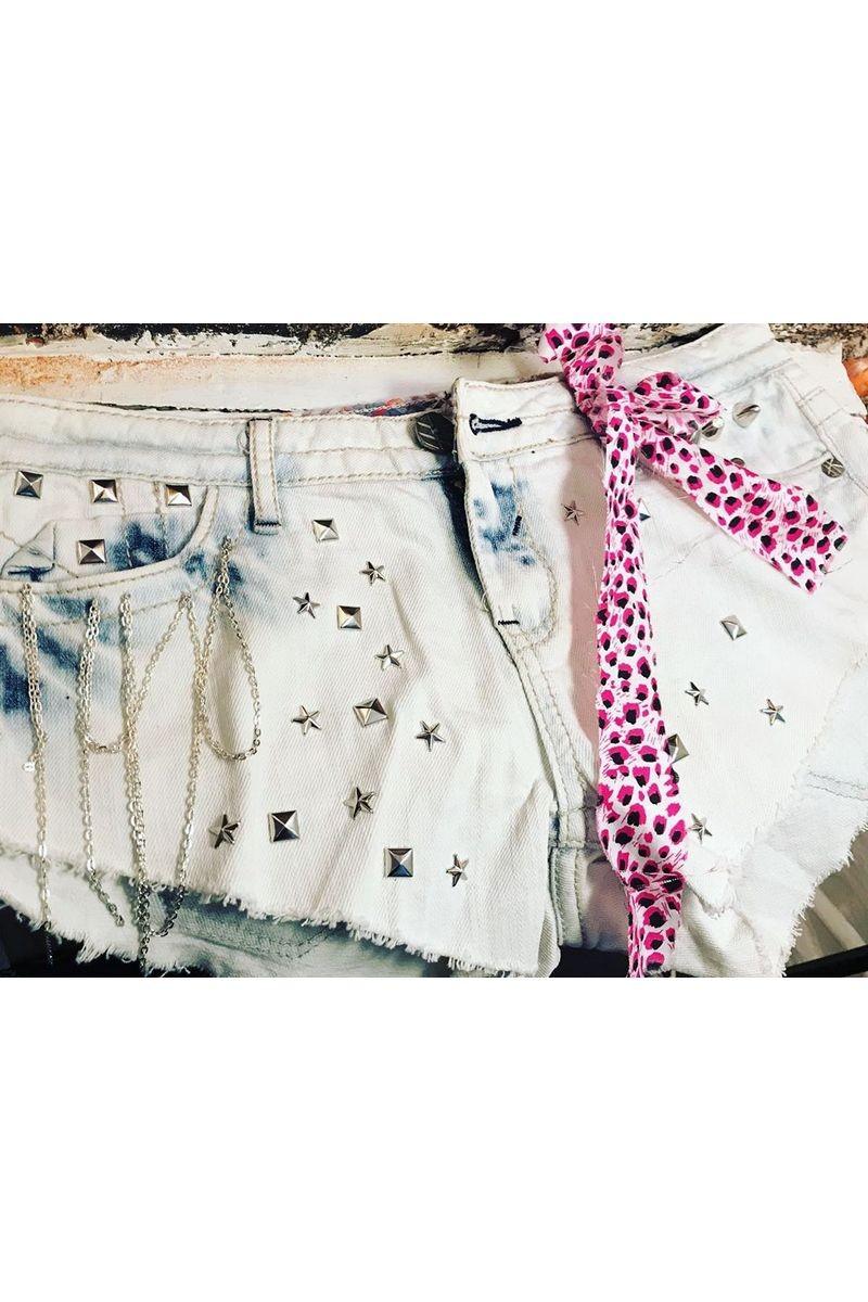 Buy Denim studded shorts,Hand made women short blue shorts, Rock shortsMedium size