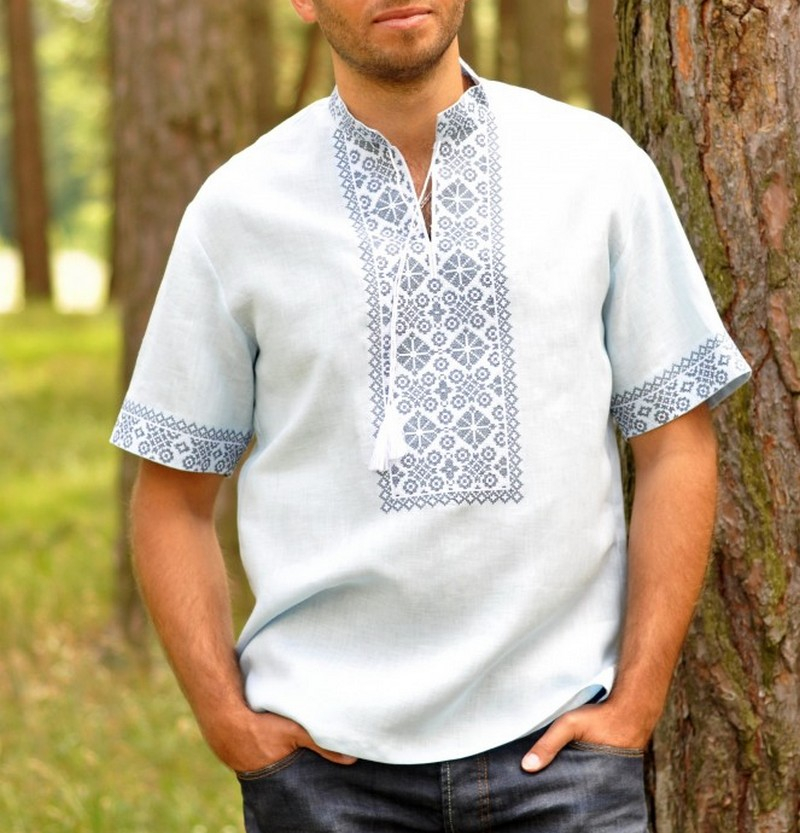 Buy Men's linen white comfortable shirt with embroidery, Summer Ukrainian Folk ethnic vyshivanka with short sleeves