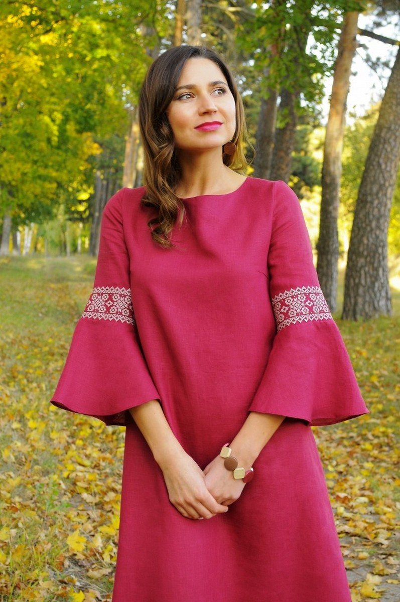 A-line linen pink vyshivanka dress, Comfortable stylish Ukrainian ethnic unique dress