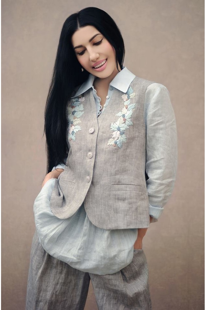 Buy Stylish linen comfortable grey women`s embroidered suit, designer unique costume