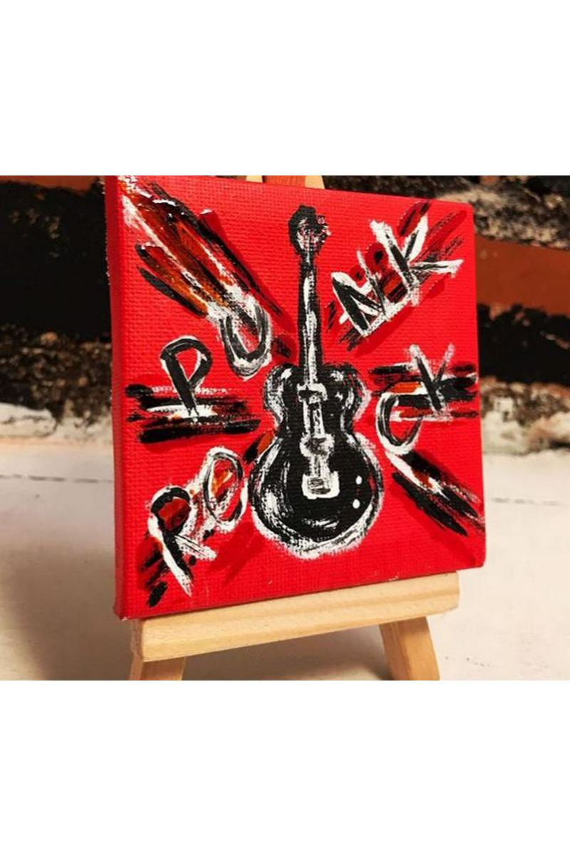 Buy Acrylic Red Punk Rock Mini painting, Modern music art guitar