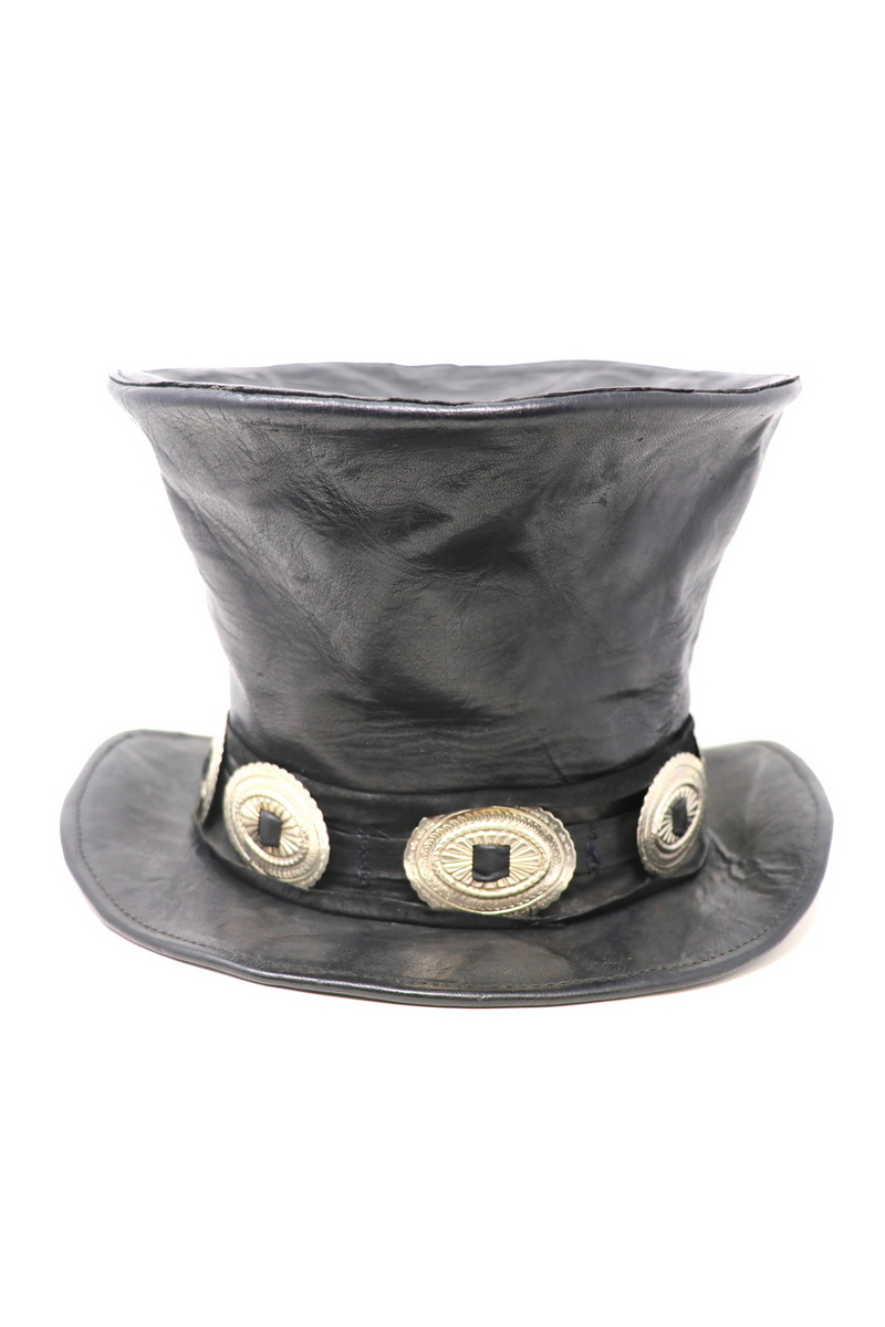 Buy Slash Mad Hatter, Black Leather High Top Hat, Rockstar Festival Party Handmade Hat