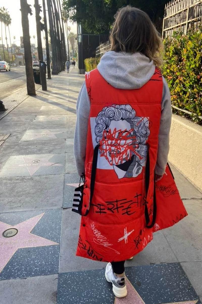 Buy Women's Red Warm Marilyn Monroe Print Long Down Vest Outwear Sleeveless Padded Waistcoat Jacket