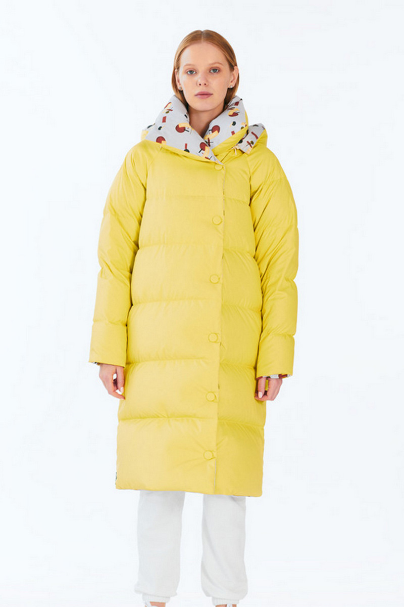 Buy Women's Winter Yellow Long Maxi Warm Oversize Down Coat with Collar Zipper Buttons