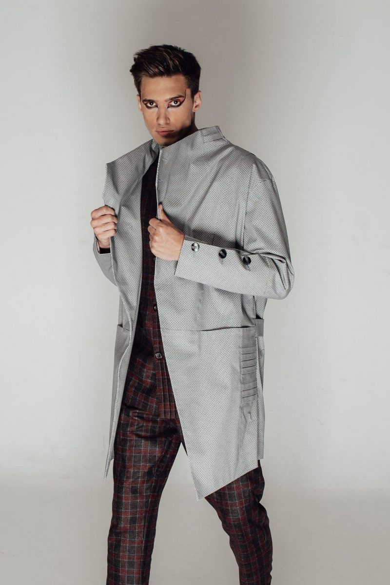 Buy Short Gray-lilac water-repellent asymmetrical raincoat, Cotton-Blend Buttons Business Coat with pockets