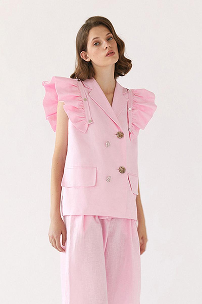 Buy Transforming fashion linen vest pink shuttlecocks pockets buttons, eco women summer sleeveless jacket