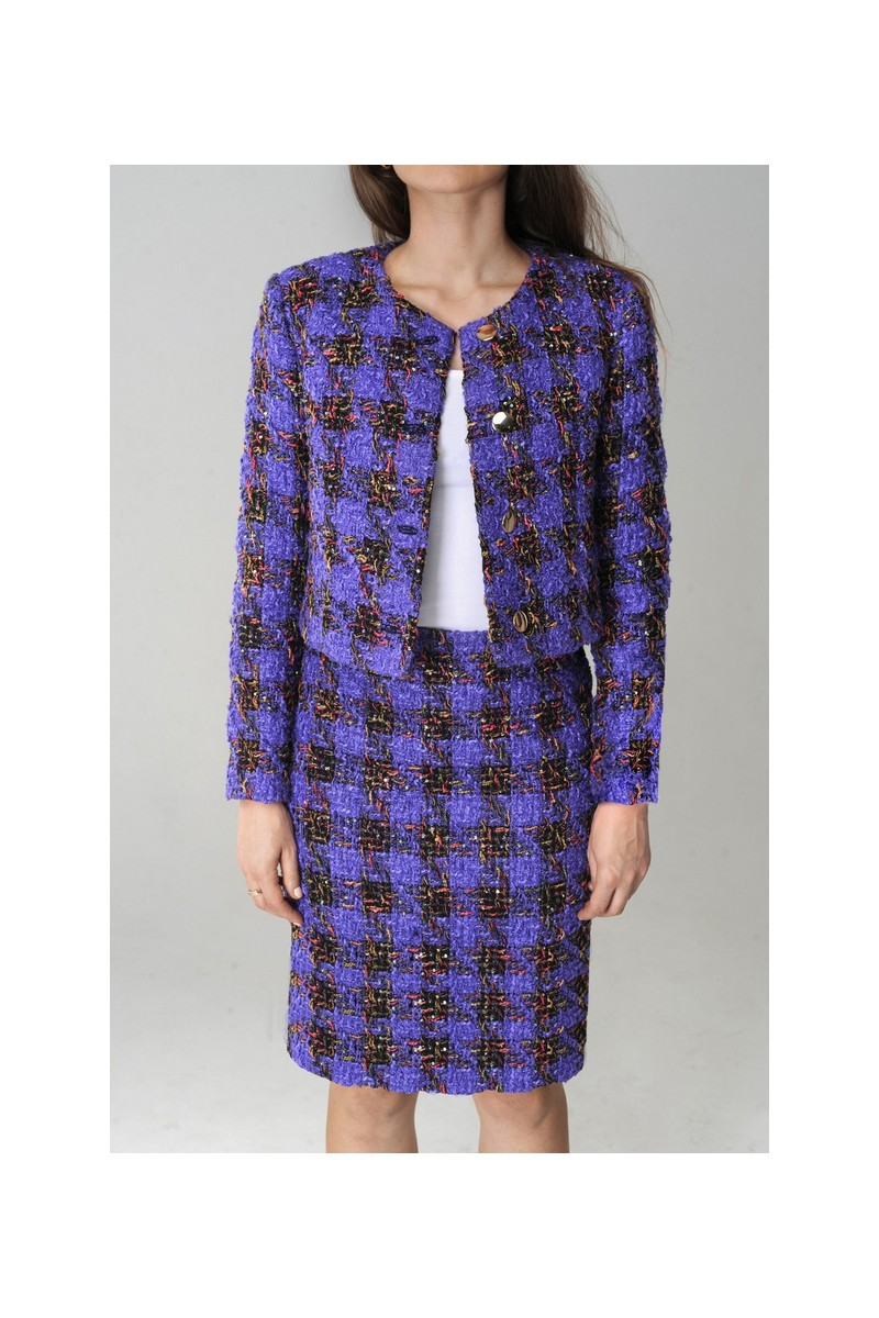 Buy Violet tweed wool women`s skirt office business classic warm suit