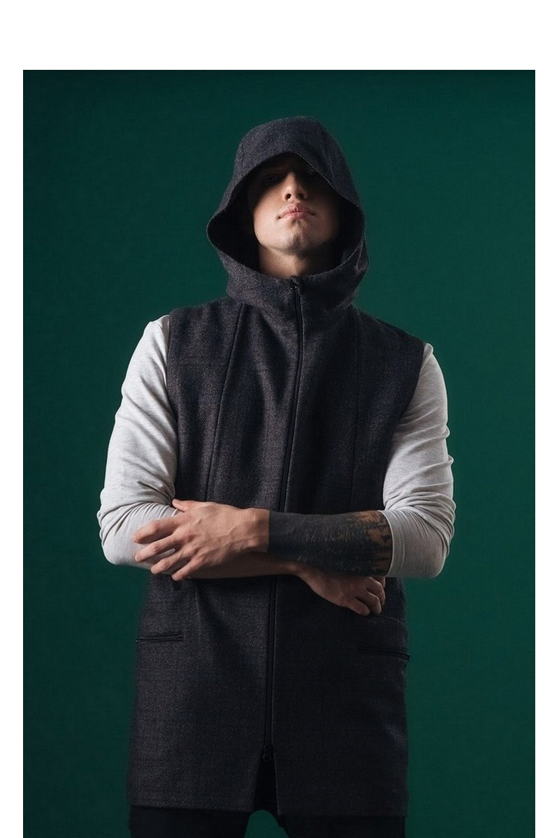 Buy Wool men`s long vest hooded zipper pockets dark blue into the cell