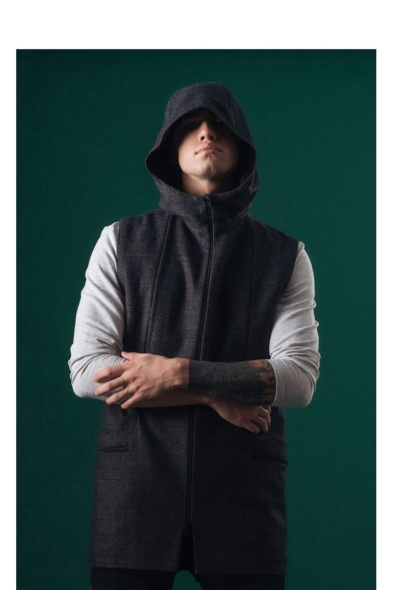 Buy Wool men`s long vest hooded zipper pockets dark blue into the cell