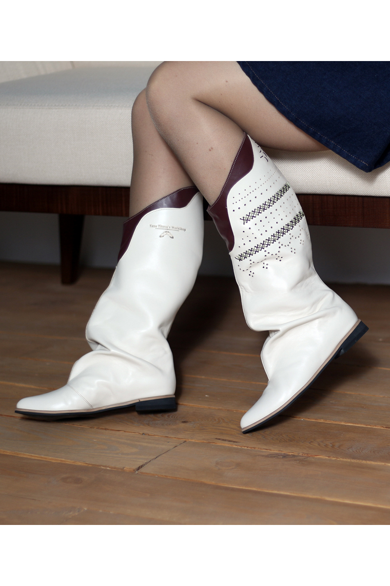 Buy Boots loose top decorative perforation with weaving, milk color women flat boots
