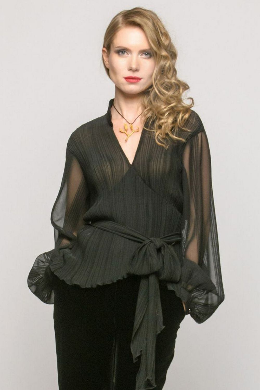 Buy Black silk women`s blouse, Fashionable stylish Long sleeve V neck blouse